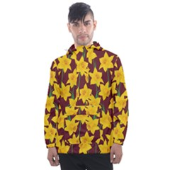Yellow Daffodils Pattern Men s Front Pocket Pullover Windbreaker