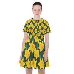 Yellow Daffodils Pattern Sailor Dress by Valentinaart