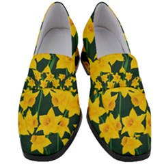 Yellow Daffodils Pattern Women s Chunky Heel Loafers