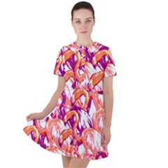 Flamingos Short Sleeve Shoulder Cut Out Dress