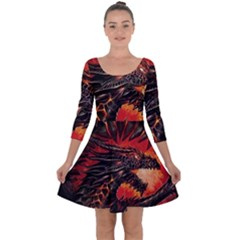 Dragon Quarter Sleeve Skater Dress by Sudhe