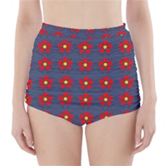 Red Begonias High Waisted Bikini Bottoms by WensdaiAddamns