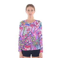 Trippy Forest Full Version Women s Long Sleeve Tee by okhismakingart