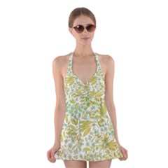 Fancy Floral Pattern Halter Dress Swimsuit  by tarastyle