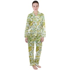 Fancy Floral Pattern Satin Long Sleeve Pyjamas Set by tarastyle
