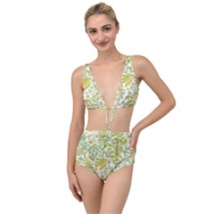 Fancy Floral Pattern Tied Up Two Piece Swimsuit by tarastyle