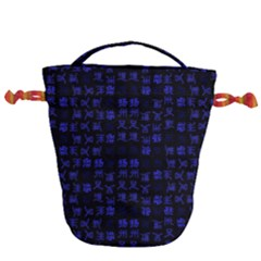Neon Oriental Characters Print Pattern Drawstring Bucket Bag by dflcprintsclothing