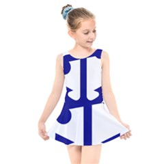 United States Navy Anchor Insignia Kids  Skater Dress Swimsuit by abbeyz71