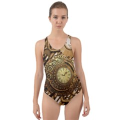 Wonderful Steampunk Design, Awesome Clockwork Cut Out Back One Piece Swimsuit by FantasyWorld7