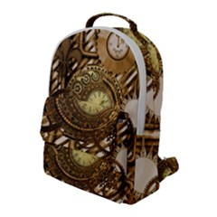 Wonderful Steampunk Design, Awesome Clockwork Flap Pocket Backpack (large) by FantasyWorld7