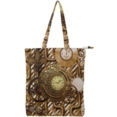 Wonderful Steampunk Design, Awesome Clockwork Double Zip Up Tote Bag