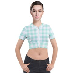 Mint Green Gingham Short Sleeve Cropped Jacket