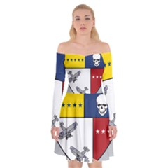 United States Navy Strike Fighter Squadron 2 Insignia Off Shoulder Skater Dress