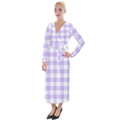Lavender Gingham Velvet Maxi Wrap Dress