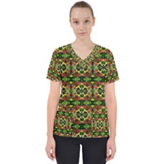 Pattern Red Green Yellow Black Women s V Neck Scrub Top