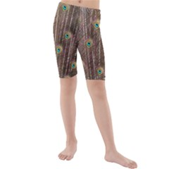 Peacock Feather Bird Exhibition Kids  Mid Length Swim Shorts by Pakrebo