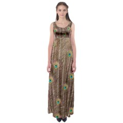 Peacock Feather Bird Exhibition Empire Waist Maxi Dress