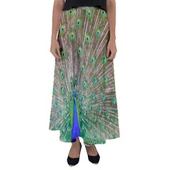 Peacock Color Bird Colorful Flared Maxi Skirt