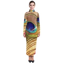 Peacock Feather Colorful Peacock Turtleneck Maxi Dress by Pakrebo