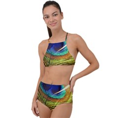 Peacock Feather Colorful Peacock High Waist Tankini Set by Pakrebo