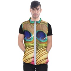 Peacock Feather Colorful Peacock Men s Puffer Vest