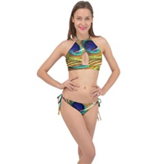 Peacock Feather Colorful Peacock Cross Front Halter Bikini Set by Pakrebo