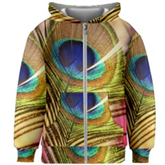 Peacock Feather Colorful Peacock Kids  Zipper Hoodie Without Drawstring by Pakrebo