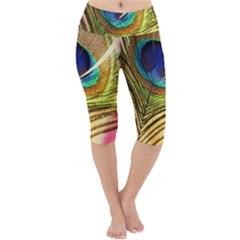 Peacock Feather Colorful Peacock Lightweight Velour Cropped Yoga Leggings by Pakrebo