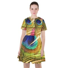 Peacock Feather Colorful Peacock Sailor Dress by Pakrebo