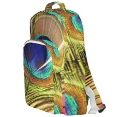 Peacock Feather Colorful Peacock Double Compartment Backpack