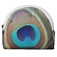 Peacock Feather Close Up Macro Horseshoe Style Canvas Pouch