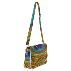 Peacock Feather Bird Colorful Shoulder Bag With Back Zipper