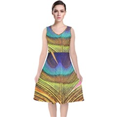 Peacock Feather Bird Colorful V Neck Midi Sleeveless Dress