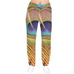 Peacock Feather Bird Colorful Velvet Drawstring Pants by Pakrebo