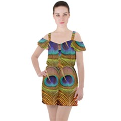 Peacock Feather Bird Colorful Ruffle Cut Out Chiffon Playsuit