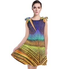 Peacock Feather Bird Colorful Tie Up Tunic Dress