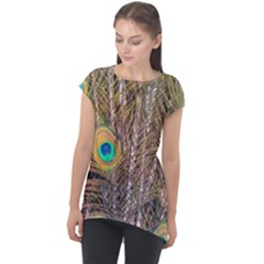 Pen Peacock Wheel Plumage Colorful Cap Sleeve High Low Top