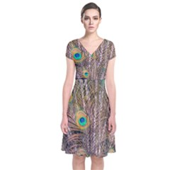 Pen Peacock Wheel Plumage Colorful Short Sleeve Front Wrap Dress