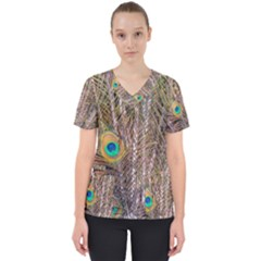 Pen Peacock Wheel Plumage Colorful Women s V Neck Scrub Top