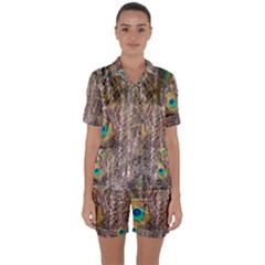 Pen Peacock Wheel Plumage Colorful Satin Short Sleeve Pyjamas Set