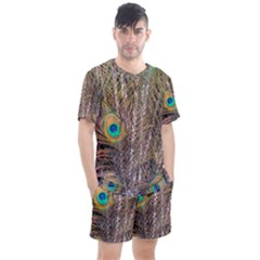 Pen Peacock Wheel Plumage Colorful Men s Mesh Tee And Shorts Set