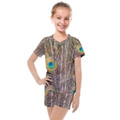Pen Peacock Wheel Plumage Colorful Kids  Mesh Tee And Shorts Set