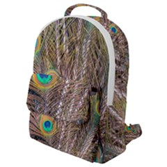 Pen Peacock Wheel Plumage Colorful Flap Pocket Backpack (small)