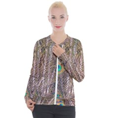 Pen Peacock Wheel Plumage Colorful Casual Zip Up Jacket