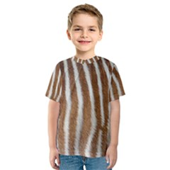 Skin Zebra Striped White Brown Kids  Sport Mesh Tee