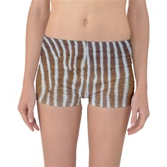 Skin Zebra Striped White Brown Boyleg Bikini Bottoms