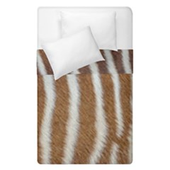 Skin Zebra Striped White Brown Duvet Cover Double Side (single Size)