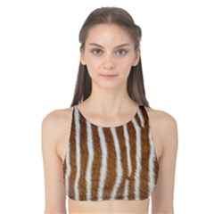 Skin Zebra Striped White Brown Tank Bikini Top