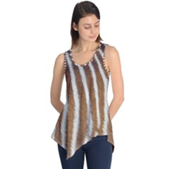 Skin Zebra Striped White Brown Sleeveless Tunic