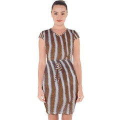 Skin Zebra Striped White Brown Capsleeve Drawstring Dress